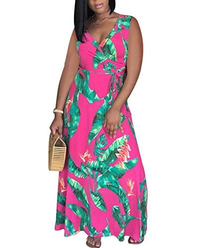 Doris Vêtements Femmes Sans Manches Été Robe À Fleurs Maxi Entourage V Avec Des Robes De Plage Décontractée De La Ceinture Rose