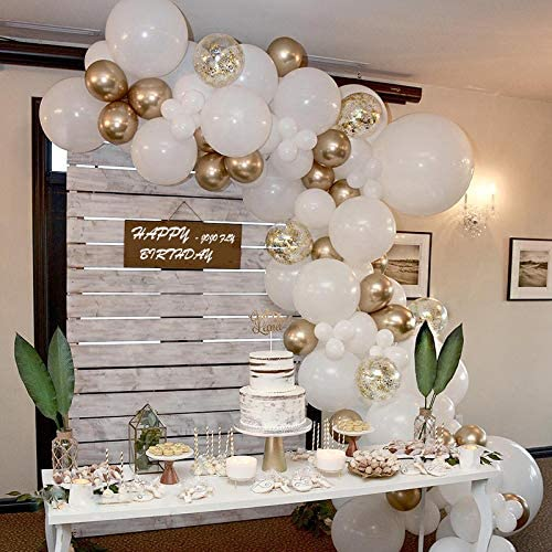 Amazon Com 70 Pcs Balloon Garland Arch Kit Gold And White