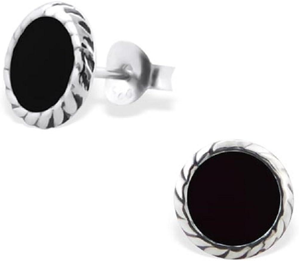 Laimons Pendientes para mujer diseño redondo Envejecido Negro Plata de ley 925