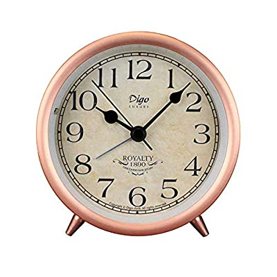 JUSTUP Rose Gold Table Clock, 4in Retro Classic Non-Ticking Tabletop Alarm Clock Battery Operated Desk Clock with Backlight HD Glass for Indoor Decor (Arabic) - Metal Frame: Metallic iron look, well made,Rose Gold,black Arabic /Roman numbers, an awesome clear and simple style, looks conspicuous in your nightstand. Non-Ticking: Retro style with sweep second hand, the clock works silently. It's nice for a good working and learning environment, also for a soothing sleep. Battery Operated: Requires 1 AA CARBON ZINC battery(not included). - clocks, bedroom-decor, bedroom - 51CkEl3Y0KL. SS400  -