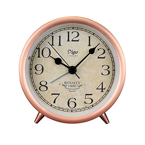 Justup Rose Gold Table Clock, 4in Retro Classic Non-Ticking Tabletop Alarm Clock Battery Operated Desk Clock with Backlight HD Glass for Indoor Decor (Arabic)