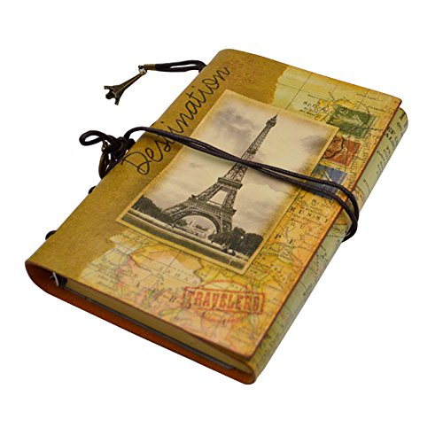 - Vintage Traveler Notebook Sketchbook Classic Refillable Diary Planner for Girls and Boys Eiffel Tower
