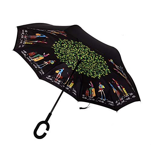 (Xiuying Feng Better Portable Reverse/Invertable/Inverted Double Layer Windproof Waterproof UV Protection Big Folding Straight Umbrella,Self-Standing &C-Shape Handle Umbrella(Traveler))