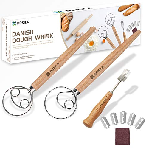 Danish Dough Whisk,DOXILA 3 Pack of Premium Stainless Steel Danish Dough Whisk Set(2 Dough Whisk & 1 Bread Lame),Dutch Dough Whisk Hand Mixer for Cake Dessert Bread Cookie Dumpling or Pizza Dough
