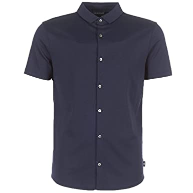 66fbb878 Armani Men's Slim Fit Jersey Cotton Short Sleeve Shirt Navy at ...