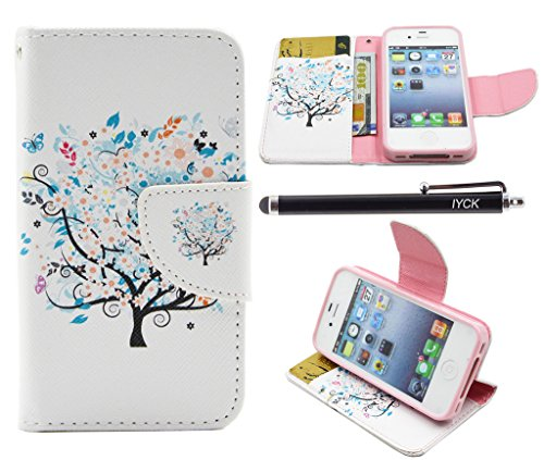 ne 4 Case Wallet, iYCK Premium PU Leather Flip Carrying Magnetic Closure Protective Shell Wallet Case Cover for iPhone 4 / 4S with Kickstand Stand - Butterfly Floral Tree ()