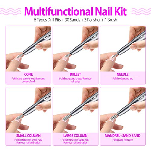 Bestidy Best Gift Electric Nail Drill Kit, USB Manicure Pen Sander Polisher With 6 Pieces Changeable Drills And Sand Bands for Exfoliating, Polishing, Nail Removing, Acrylic Nail Tools (B-Black)