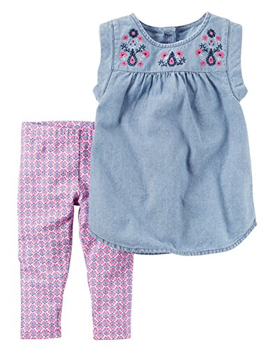Carter's© Toddler Girls Embroidered Chambray Top & Capri Leggings Set, Blue (Embroidered Girls Pant Set)