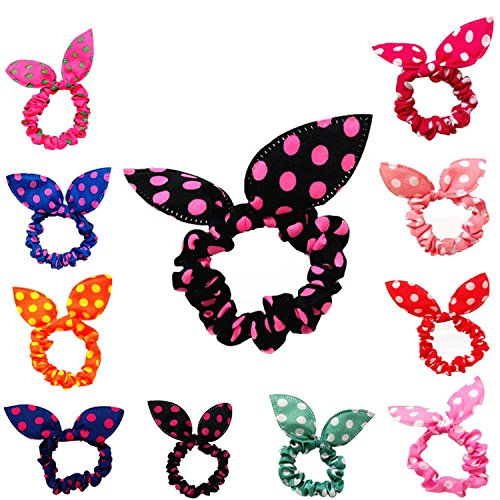 Cuhair(tm)fashion Women Girl 20pcs Cute Rabbit Ear Assorted(mixed Color) Elastic Ponytail Holders Hair Tie Assorted Rope Rubber Bands Accessories (Hair Accessories Wholesale)