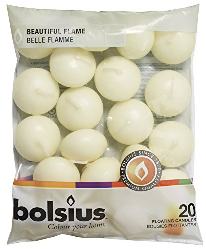 BOLSIUS Unscented Floating Candles – Set of 20 Ivory Floating Candles – Elegant Burning Candles...