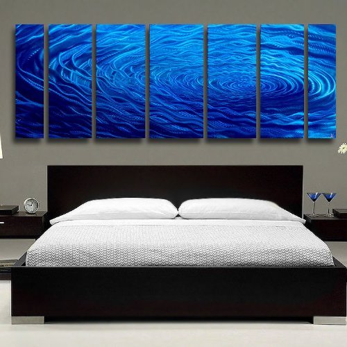 Extra Large Contemporary Fusions of Cobalt Blue Jewel Tone Metal Panel Wall Art - Rain Drop-Inspired Abstract Home Accent, Over-Sized Home Decor, Modern Wall Sculpture - Cobalt Ripple XL by Jon Allen