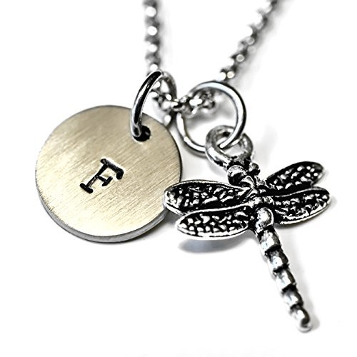 Antique Silver Plated Pewter Dragon Fly Necklace, personalized with hand stamped stainless steel initial charm on a 24