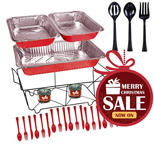 Tiger Chef 33-Piece Red Food Warmer Chafing Dish Buffet Set, Disposable Chafing Dishes with Colorful Baking Pans, Fuel Gel, Serving Utensils and Plastic (Catering Kit)