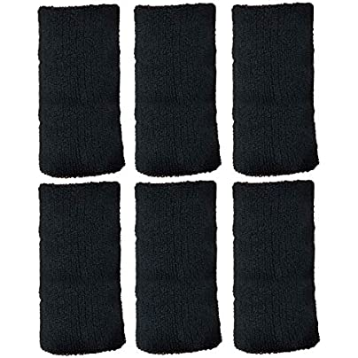 6pcs Elastic Cotton Absorbent Sweatbands Sports Wristbands for Basketball Football Badminton Tennis Running Yoga Cycling Exercise Outdoor Workout Athletic Estimated Price £6.40 -