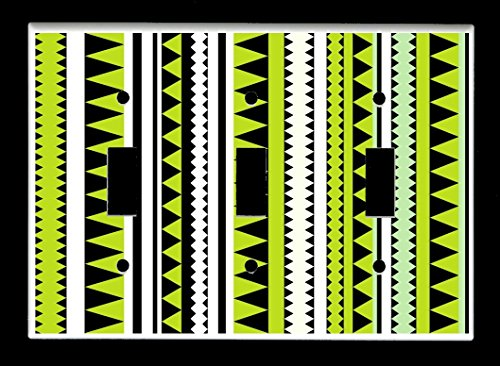 Triple Toggle (3-toggle) Light Switch Plate Cover - Native American Indian - Tribal Pattern Design #7