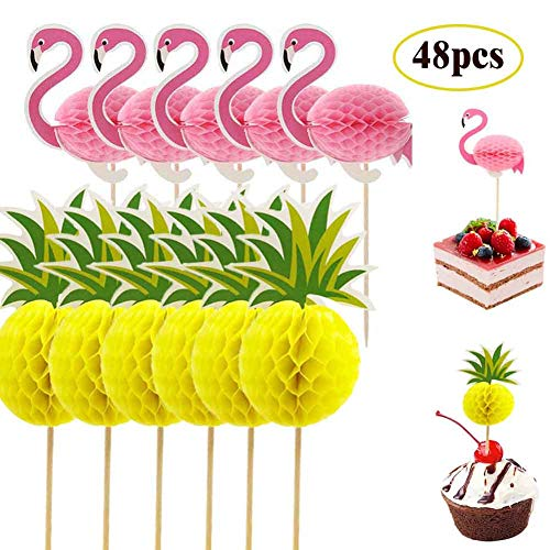 48x Snailmon Flamingo Cupcake Toppers pcks Pineapple Cupcake Toppers, 3D Cocktail Picks Cake Decoration for Luau Hawaii Tropical Birthday Wedding Beach Party