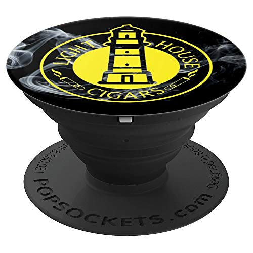 Lighthouse Cigars NJ Custom with Smoke Background - PopSockets Grip and Stand for Phones and Tablets ()