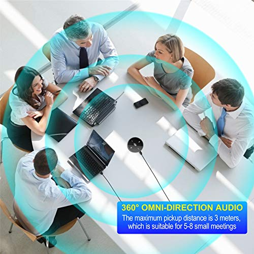USB Conference Microphone with Speaker,Omnidirectional Speakerphone Computer Mic with 360º Voice Pickup, Touch-Sensor Buttons to Mute/Volume for Streaming, Skype,VoIP Call, Webinar, Interview