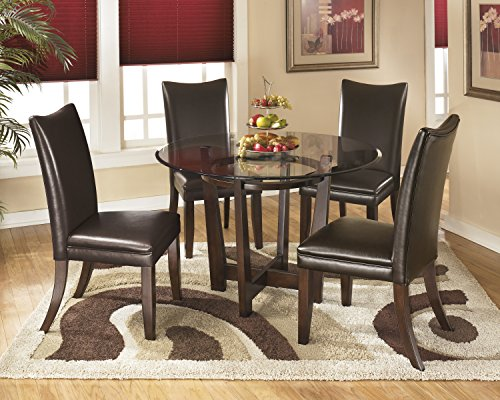 Charrielly Contemporary Medium Brown Round Dining Room Table w/ 4 Brown Upholstered Side Chair
