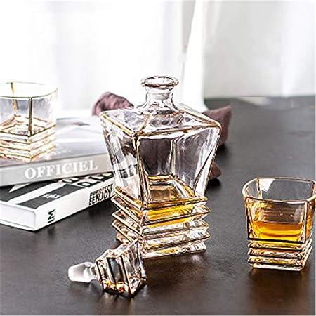 Juego de decantador de whisky de 7 piezas, decantador de whisky de cristal, con 6 vasos, decantador de whisky para hombres, juego de whisky (color transparente, tamaño: 7 piezas)