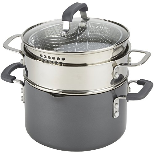 Emeril Lagasse 63054 Nonstick 4-Quart Multi-Cooker Saucepot with Fryer and Steamer Attachments, Gray