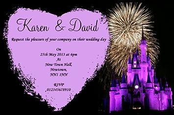 10 X Personalisiert Disney Castle Feuerwerk Hochzeit Einladungen