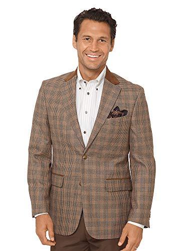 Paul Fredrick Men's Wool Houndstooth Sport Coat Brown 52 Regular