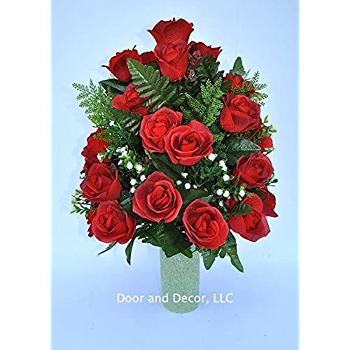 Artificial flowers for grave amazon red roses cemetery flowerscemetery arrangementgraveside vase fillercemetery vase fillerflowers for gravesflowers for cemeteryfuneral flowersgrave mightylinksfo