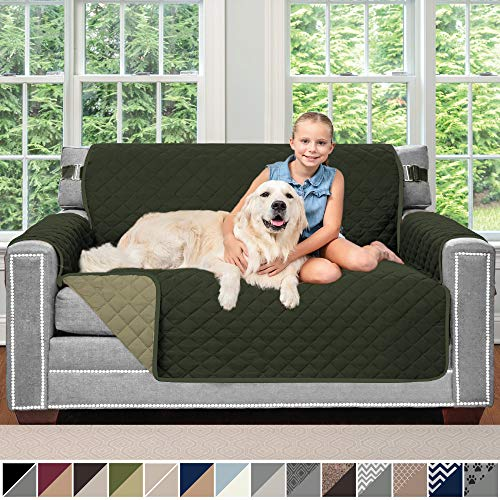 "Sofa Shield Original Patent Pending Reversible Loveseat Slipcover, Dogs, 2"" Strap/Hook, Seat Width Up to 54"" Washable Furniture Protector, Couch Slip Cover for Pets (Love Seat: Hunter Green/Sage)"