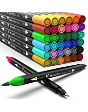 Coloring Markers Set for Adults Kids 36 Dual Brush Pens Fine Tip Art Colored Markers for Adult Coloring Books Bullet Scrapbooking Supplies Drawing Double Sided Color Marker Pen No Bleed Back to School Gifts