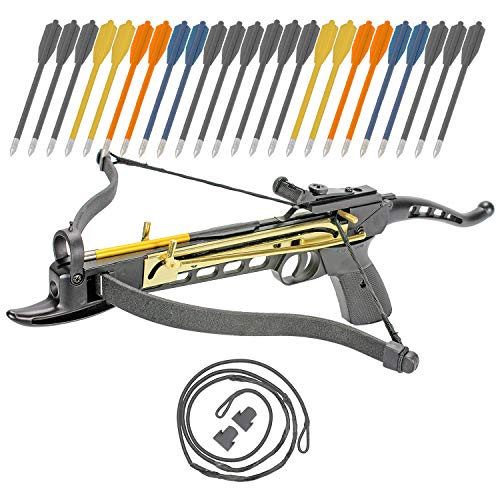 (Crossbow Self-Cocking 80 LBS by KingsArchery® with Adjustable Sights, 3 Aluminium Arrow Bolts, Spare Crossbow String and Caps, and Bonus 24-pack of Colored PVC Arrow Bolts + KingsArchery® Warranty)