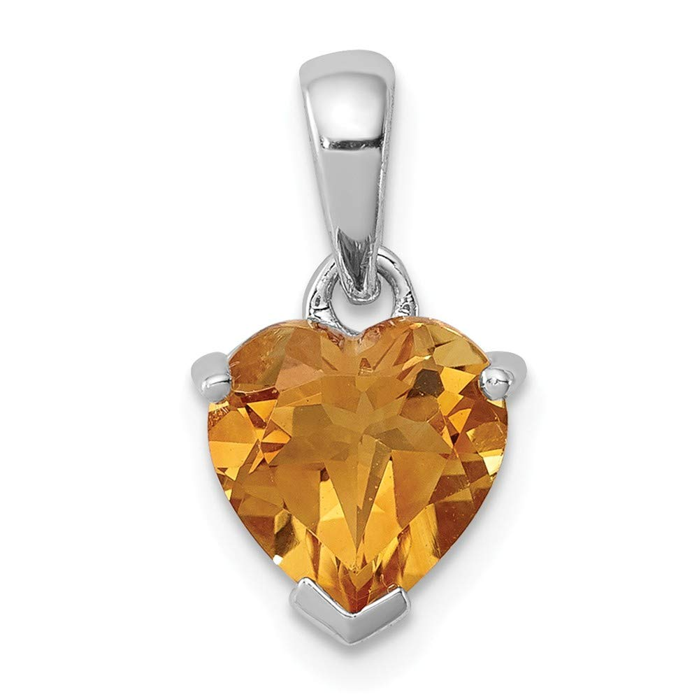 Sonia Jewels 925 Sterling Silver Golden Yellow Orange Simulated Citrine Pendant 15mm x 9mm