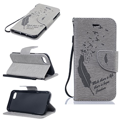 BONROY® Magnetic Flip Cover for iPhone 7,Feathers and birds fashion shell design Wallet Case for iPhone 7, Premium PU Leather Folio Style with Card Slots and Stand Function Case Cover for iPhone 7