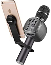 Beschoi Wireless Bluetooth Karaoke Microphone with Bracket, Portable Handheld Mic Speaker Karaoke with B uilt-in Speaker, Multi-color LED Lights & Multifunctional Phone Holder Suit for Computers, Tablets and Phone for Singing Home KTV Party Birthday (Grey)