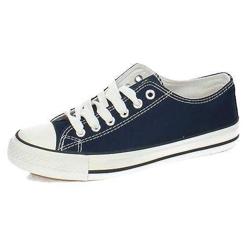 DEMAX S122 Zapatillas DE Lona Mujer Zapatillas Marino 36