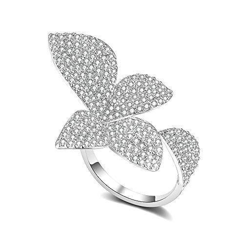 dnswez Statement Rings Flower Engagement Cubic Zirconia Ring CZ Silver Cluster Cocktails Adjustable Size 7/8/9