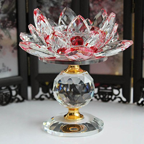Feng Shui Candle Jar - pettukey - Crystal Glass Block Lotus Flower Metal Candle Holders Feng Shui Home Decor Big Tealight Candle Stand Holder Candlesticks