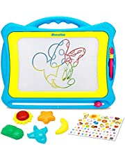 Biulotter Magnetic Drawing Board Colors Writing Painting Sketching Pad with 5 Stamps and Sticker for Toddler Boy Girl Kids Skill Development