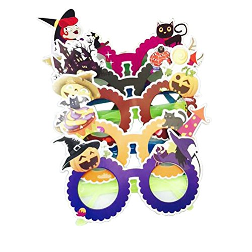 LUOEM Halloween Party Glasses 6-Pack Funny Cartoon Glasses Novelty Halloween Decorations Photo Booth Prop Party Favors for Children and Adults (Mixed Color) ()