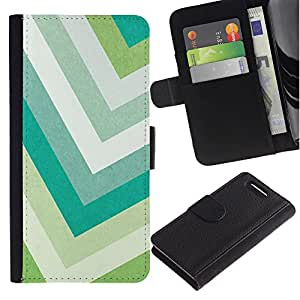 EuroTech - Sony Xperia Z1 Compact D5503 - Chevron Pastel Green Colors Teal White - Cuero PU Delgado caso Billetera cubierta Shell Armor Funda Case Cover Wallet Credit Card