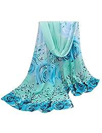 ABC® Women Scarf, Women Beautiful Rose Pattern Scarf Chiffon Shawl Wrap