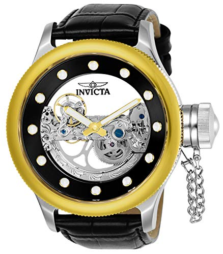 - Invicta Men's Russian Diver Stainless Steel Automatic-self-Wind Watch with Leather Calfskin Strap, Black, 25.5 (Model: 24594)