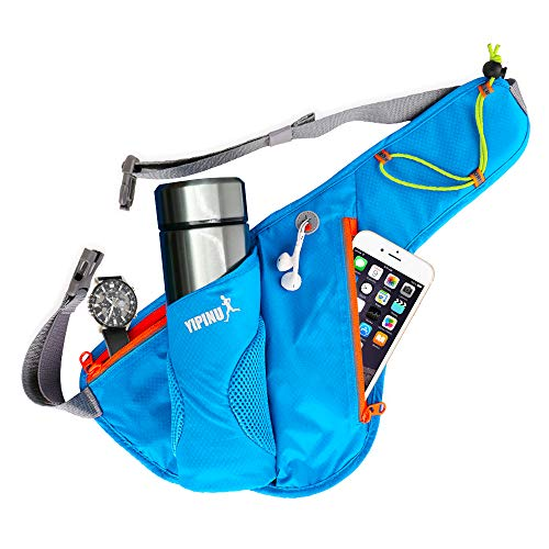 Virwir Water Belts Fanny Pack with Water Bottle Holder, Hiking Waist Bag Running Belt Hydration Fanny Bag Storage Water Bottle Pouch Pocket for Sports/Climbing/Riding/Travel/Blue