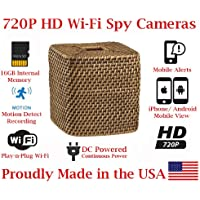 SecureGuard Wicker Tissue Box Cover Wireless IP Hidden Spy camera Nanny cam Internet view watch on your iPhone Android PC Windows 8 and Mac