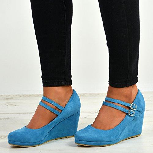 Platform Pumps Shoes Heel Cucu 3 8 UK Double Ladies Wedge Size Blue Strap Fashion High Womens a0wUTq