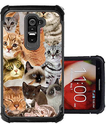 CorpCase LG G2 Case - The Cat Collage Cats/ Hybrid Unique Case With Great Protection (Unique G2 Lg Phone Case)