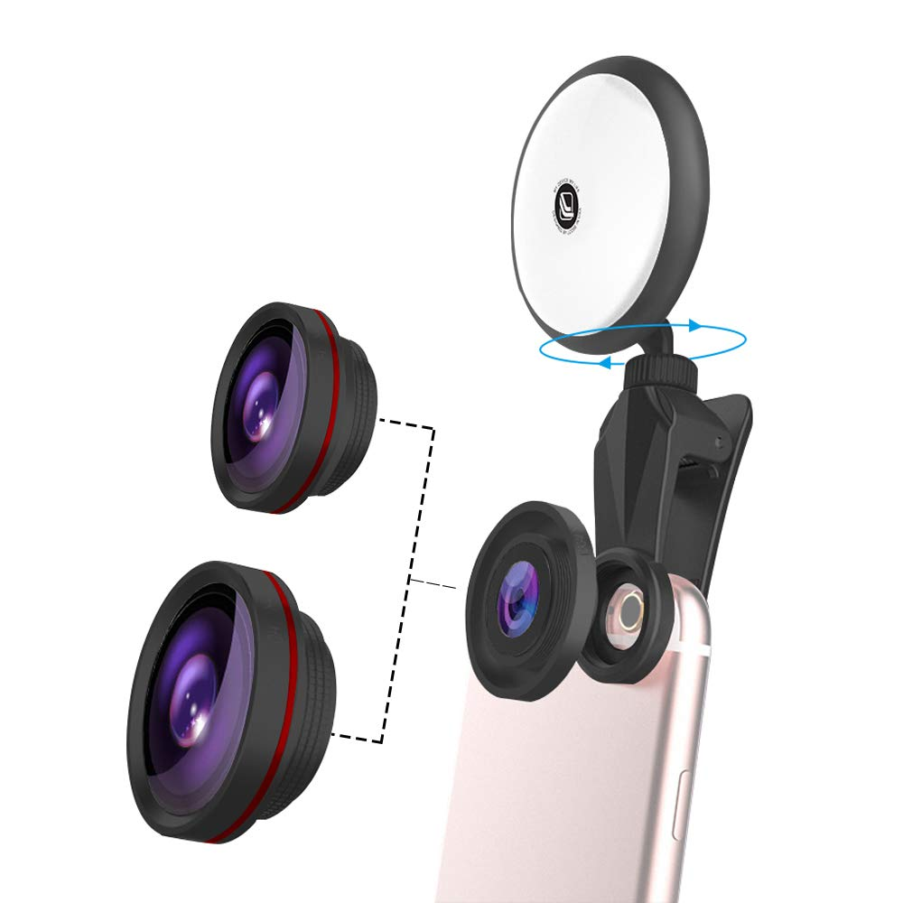 aceyoon 3 in 1 Phone Camera Lens Selfie Light Clip On Cell Phone Lens Kit 15X Macro Lens, 140° Wide Angle Lens, Fisheye, LED Flash Light Compatible iPhone X, 8, 7, 6s, Samsung Galaxy Note 8