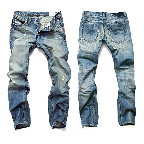 ACEFAST INC Men Ripped Straight Denim Jeans Retro Button Fly Pants Fashion Trousers