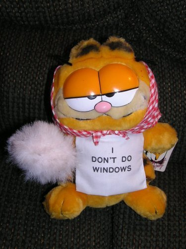 Vintage Plush 9 Garfield the Cat I Don't Do Windows Doll by 9 Plush Garfield I Don't Do Windows Doll by Dakin