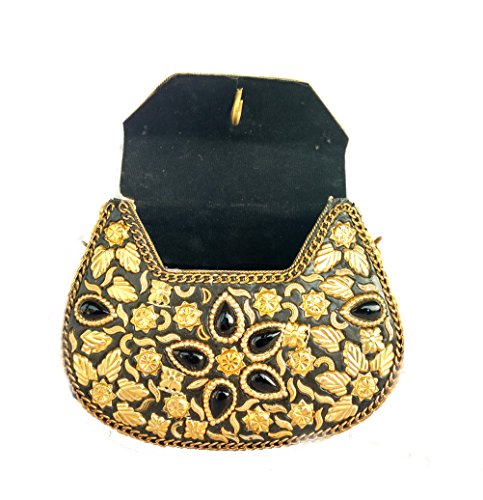 Rastogi For Bag Stones Clutch Metal Handicrafts Fix Golden Women Wallet Item Black Unique Purse ethnic Color for Vintage Gift Multi Design wAwBq6r